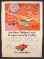 Magazine Ad For Datsun 1200 Sports Coupe Car, Psychedelic Art By Peter Max, 1973