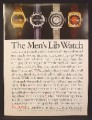Magazine Ad For Bulova Men's Lib Watch, 4 Versions Pictured, 1973, 8 1/4 by 11 1/8