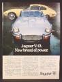 Magazine Ad For Jaguar V-12 Car, V12, V 12, Convertible & Sports Car, Front & Side Views, 1973