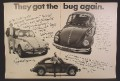 Magazine Ad For VW Volkswagen Beetle, They Got The Bug Again, 3 Beetles, 1973, Double Page