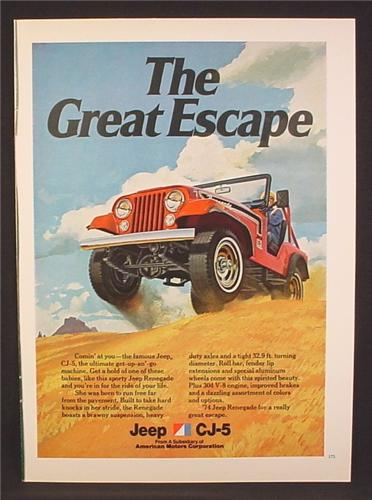 Magazine Ad For AMC Jeep CJ5 Car On Sand Dunes, CJ-5, CJ 5, The Great Escape, 1973