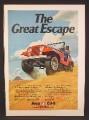 Magazine Ad For AMC Jeep CJ5 Car On Sand Dunes, CJ-5, CJ 5, The Great Escape, 1973