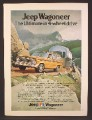 Magazine Ad For Jeep Wagoneer Car Pulling An Airstream Trailer Up A Mountain Road, 1974