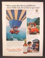 Magazine Ad For Canadian Club Whiskey, Sky Driving Vehicle Attached To Hot Air Balloon, 1974