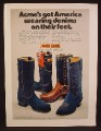 Magazine Ad For Dingo Acme Denim Cowboy Boots, Square Toed & Pointy Toe, 1974