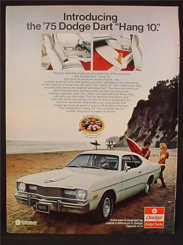 Magazine Ad For 1975 Dodge Dart Car, Hang 10, Surfers, Parked On The Beach, 1974