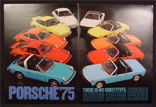 Magazine Ad For 1975 Porsche Cars, 10 Different Models, Variety Of Colors, 1973, Double Page