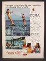 Magazine Ad For Canadian Club Whiskey, Hydrofoil Skiing In Corfu, 1974, 8 1/8 by 11 1/8