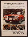 Magazine Ad For Toyota Celica Gt Car, 5 Speeder, Front & Side View, 1975, 8 1/4 by 11 1/8