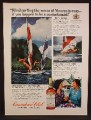 Magazine Ad For Canadian Club Whiskey, Wind Surfing The Waves At Moorea, 1975