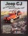 Magazine Ad For Jeep CJ Renegade, Red, Fling Across Sand Dunes, You Play Rough, 1979