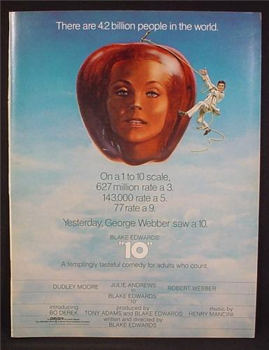 Magazine Ad For 10 Movie, Dudley Moore, Bo Derek, Julie Andrews, Blake Edwards, Ten, 1979
