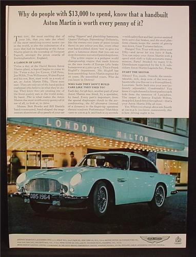 Magazine Ad For Aston Martin DB5 Car In Front Of London Hilton Hotel, DB-5, 1964