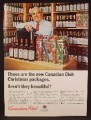 Magazine Ad For Canadian Club Whiskey, Christmas Packages, Boxes, Rows Of Bottles, 1964