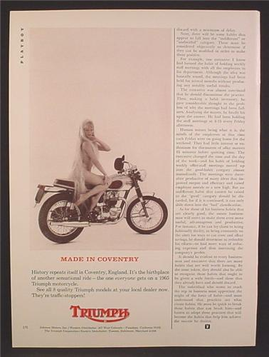 magazine ad for triumph motorcycle, made in coventry, lady godiva