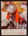 Magazine Ad For Honda Motorcycle, Close Up of Front Fork Wheel  Fender Light, 1964