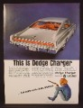 Magazine Ad For Silver Dodge Charger Fastback Car, Rear & Side View, 1966, 8 3/8 by 11