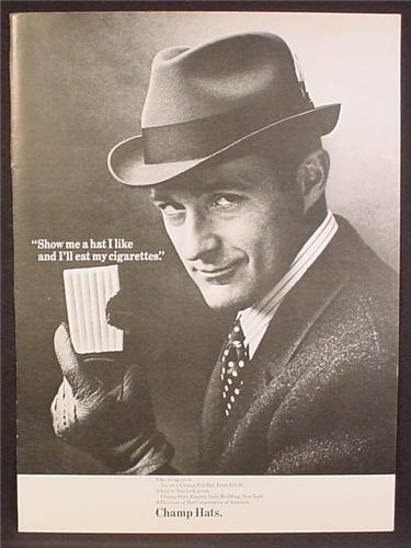 Magazine Ad For Champ Hats, Fashion For Men, Show Me A Hat I Like, 1966, 8 3/8 by 11