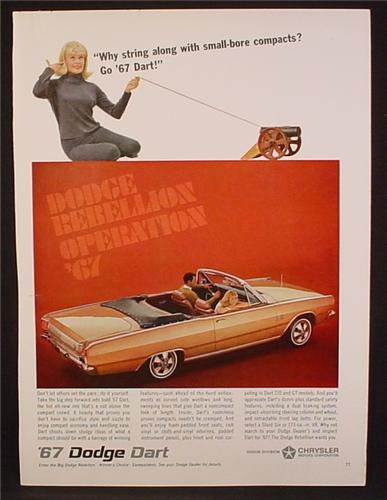 Magazine Ad For 1967 Dodge Dart Convertible Car,, Side & Rear Views, 1966, 8 3/8 by 11