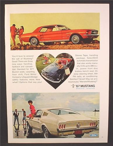 Magazine Ad For 1967 Mustang  Car, 3 Models Pictured, Hardtop Convertible Fastback, 1966