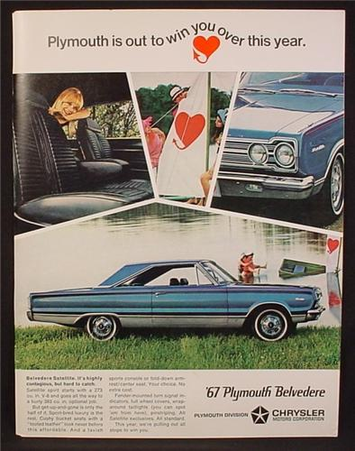Magazine Ad For 1967 Plymouth Belvedere, Side & Front Views, Interior, 1966, 8 3/8 by 11