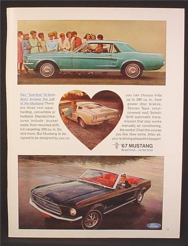 Magazine Ad For 1967 Mustang  Car, 3 Models Pictured, Fastback Hardtop Convertible, 1966