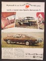 Magazine Ad For Plymouth Sports Barracuda Car, Side Front & Rear Views, 1967, 8 1/4 by 11