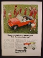 Magazine Ad For Jeepster Red Convertible Car, White Trim & Spare Cover, Marching Band, 1967