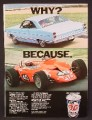 Magazine Ad For STP Oil Treatment, Why? Because, Family Car & Race Car, 1967, 8 3/8 by 11