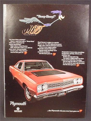 Magazine Ad For 1968 Plymouth Roadrunner Car, Beep Beep, Front & Side View, Redline Tires, 1967