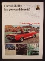 Magazine Ad For Carroll Shelby Cobra GT Convertible Car, GT 350, GT 500, 1967, 8 3/8 by 11