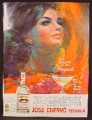 Magazine Ad For Jose Cuervo Tequila, Sam Katz Artwork, Art, Woman With Black Hair Tied, 1967