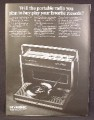 Magazine Ad For Panasonic Swing-Way Portable Radio & Record Player, 1968, 8 1/4 by 11