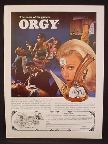 Magazine Ad For Orgy Game By Gaylord James, Drinking Game, Porron, 1968, 8 1/4 by 11
