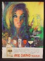 Magazine Ad For Jose Cuervo Tequila, Sam Katz Artwork, Art, Woman With Red Lips, 1968
