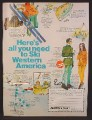 Magazine Ad For Western Airlines International, Ski Western America, Destinations, 1968