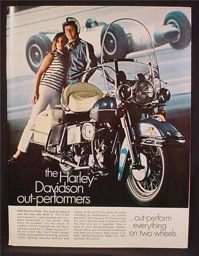 Magazine Ad For 1969 Harley-Davidson Electra Glide Motorcycle, Harley Davidson, 1968