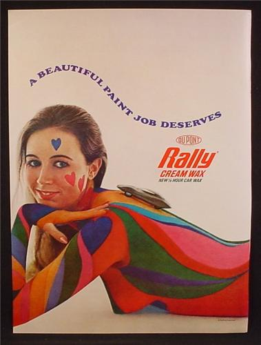 Magazine Ad For Beautiful Paint Job Deserves Rally Cream Wax, Nude Woman In Body Paint, 1969