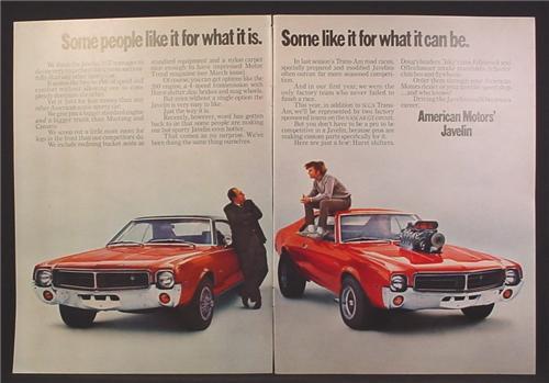 Magazine Ad For American Motors Javelin Car, Hemi Engine Through Hood, Racing Slicks, 1969