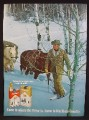 Magazine Ad For Marlboro Cigarettes, Cowboy In Forest Leading 2 Horses Through Snow, 1969