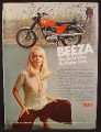 Magazine Ad For BSA 250 Starfire Motorcycle, Sexy Blonde Beeza Girl, Way To Make Time, 1969