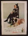 Magazine Ad For Smirnoff Vodka, Johnny Carson with St Bernard Dog, Celebrity Endorsement, 1969