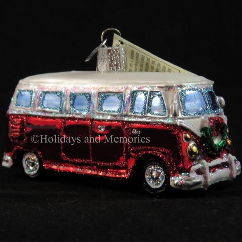 Red Vw Bus Camper Van Ornament Merck Old World Christmas 46042