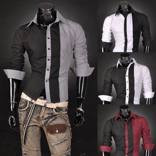 Jeansian Men's Designer Slim Dress Shirts Tops Fashion Casual Z017 ...