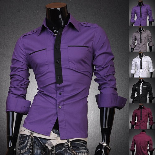 Jeansian Mens Designer Military Slim Dress Shirts Tops Tie Stylish ...