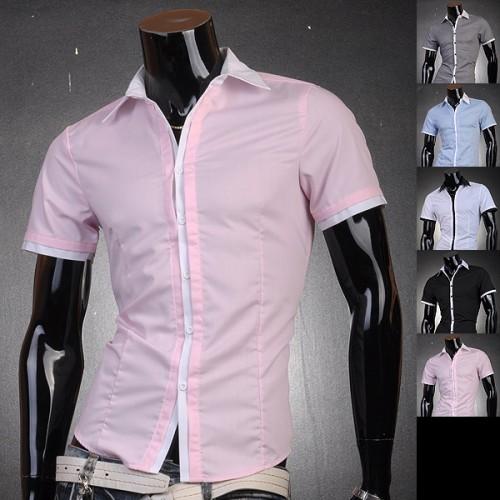 Jeansian Mens Fashion Designer Slim Dress Shirts Shorts Tops ...