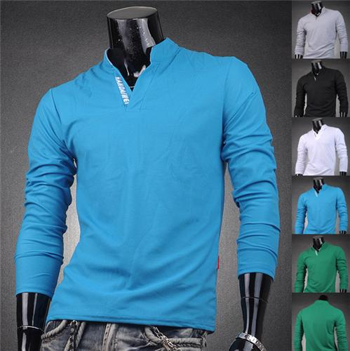 Jeansian Designer Mens T Shirts Top Tee V Neck Polo Slim