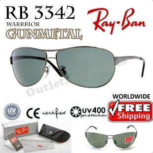 ray ban warrior  Rayban Ray Ban RB 3342 RB3342 63MM Gunmetal Sunglasses ...