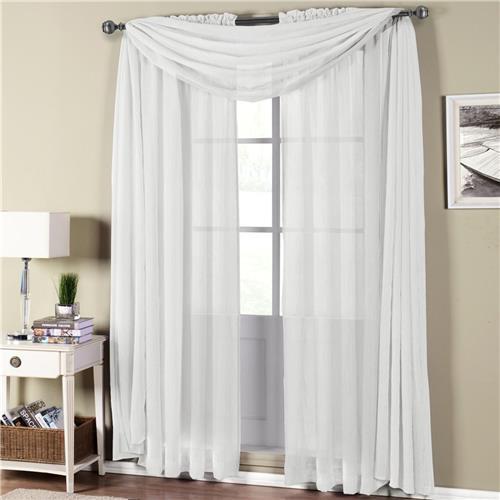 Abri White Rod Pocket Crushed Sheer Curtain Panel - $6.99 ...