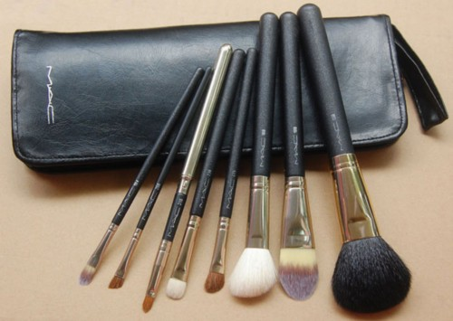 MAC 8 pc Professional Brush Set w/ Leather Pouch